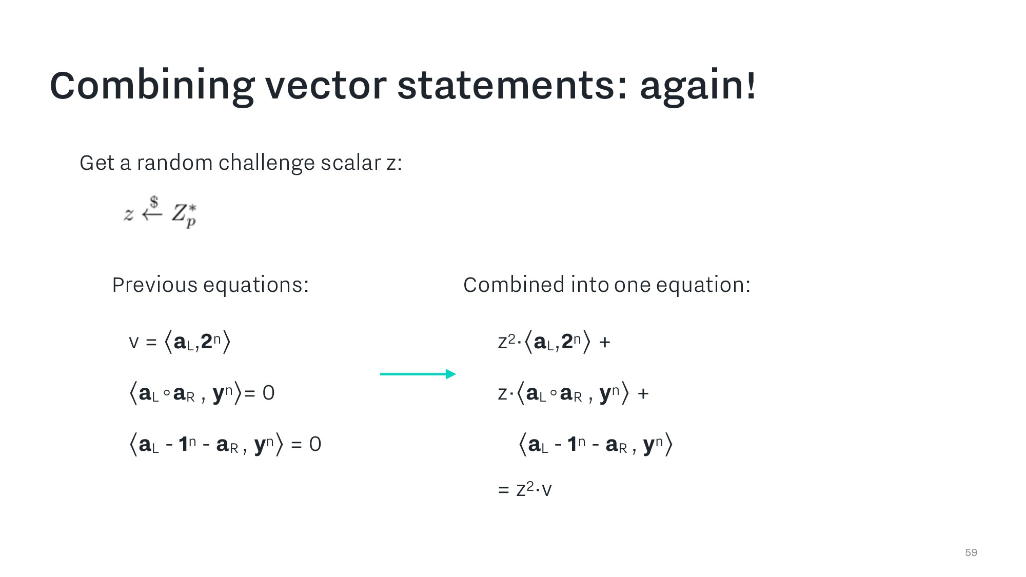 Combining vector statements: again! 59 Combined...