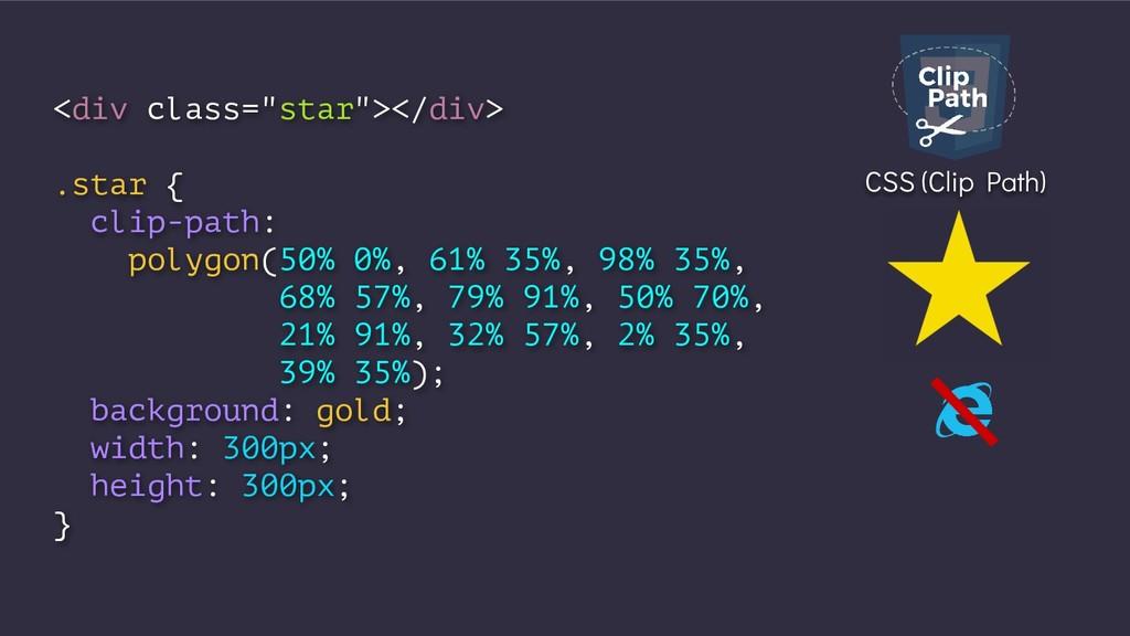 "<div class=""star""></div> .star { clip-path: pol..."