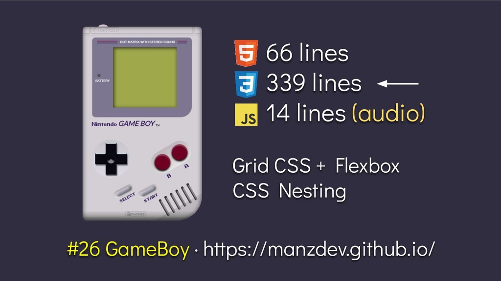 66 lines 339 lines 14 lines (audio) Grid CSS + ...