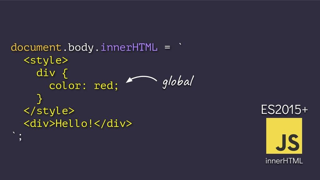 document.body.innerHTML = ` <style> div { color...