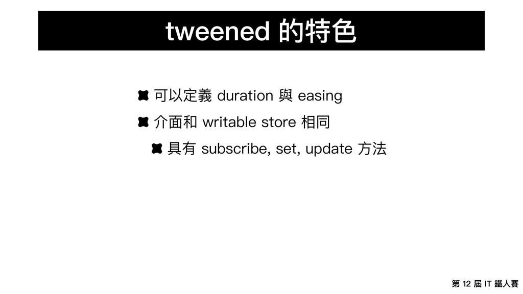 第 12 屆 IT 鐵⼈賽 tweened 的特⾊ 可以定義 duration 與 easin...