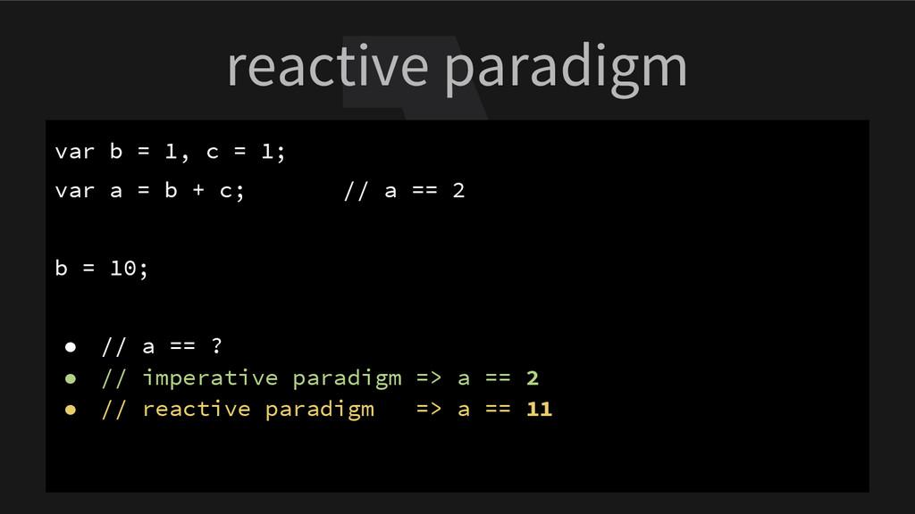 reactive paradigm var b = 1, c = 1; var a = b +...