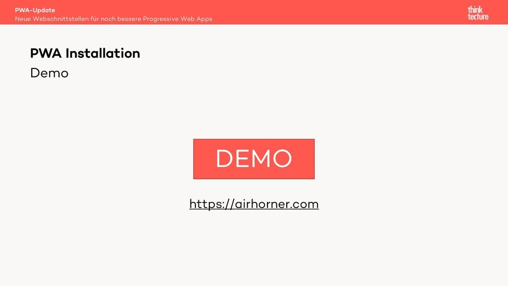 Demo https://airhorner.com PWA-Update Neue Webs...