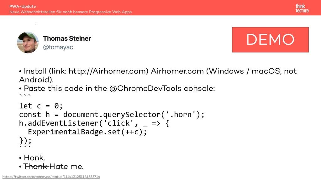 Demo • Install (link: http://Airhorner.com) Air...