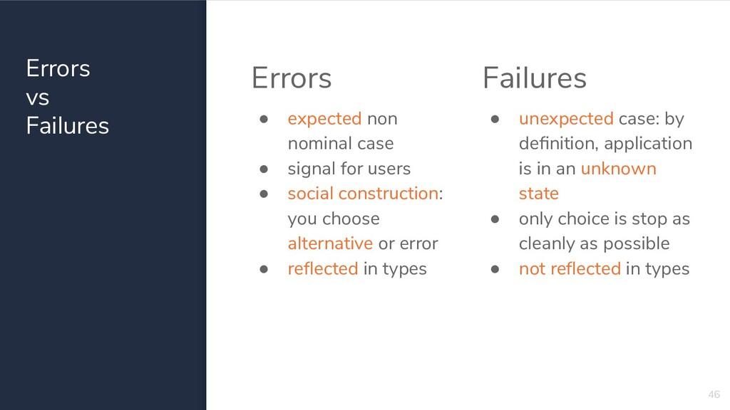 Errors vs Failures 46 Errors ● expected non nom...