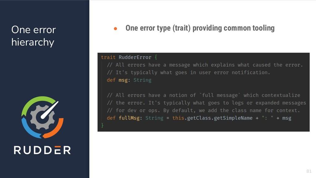 One error hierarchy 81 ● One error type (trait)...