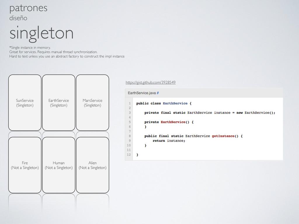 patrones diseño singleton EarthService (Singlet...