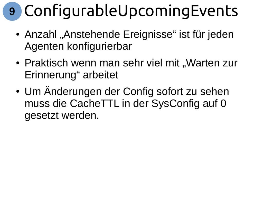 "ConfigurableUpcomingEvents 9 ● Anzahl ""Anstehen..."