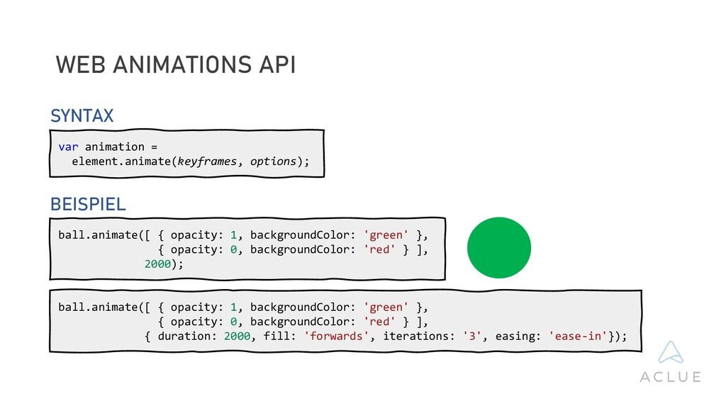 WEB ANIMATIONS API var animation = element.anim...