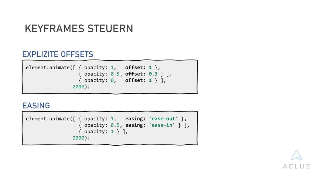 KEYFRAMES STEUERN element.animate([ { opacity: ...