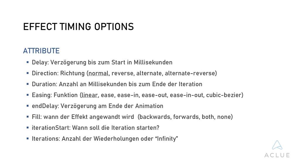 EFFECT TIMING OPTIONS ATTRIBUTE  Delay: Verzög...