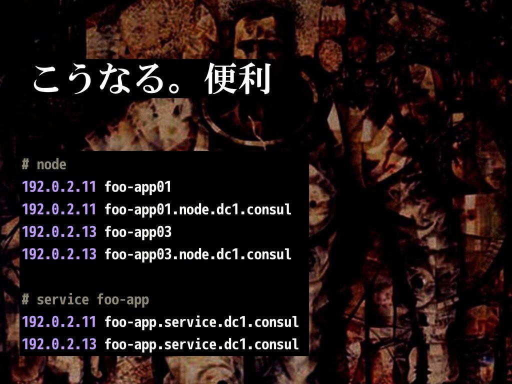 こうなる。便利 こうなる # node 192.0.2.11 foo-app01 192.0....