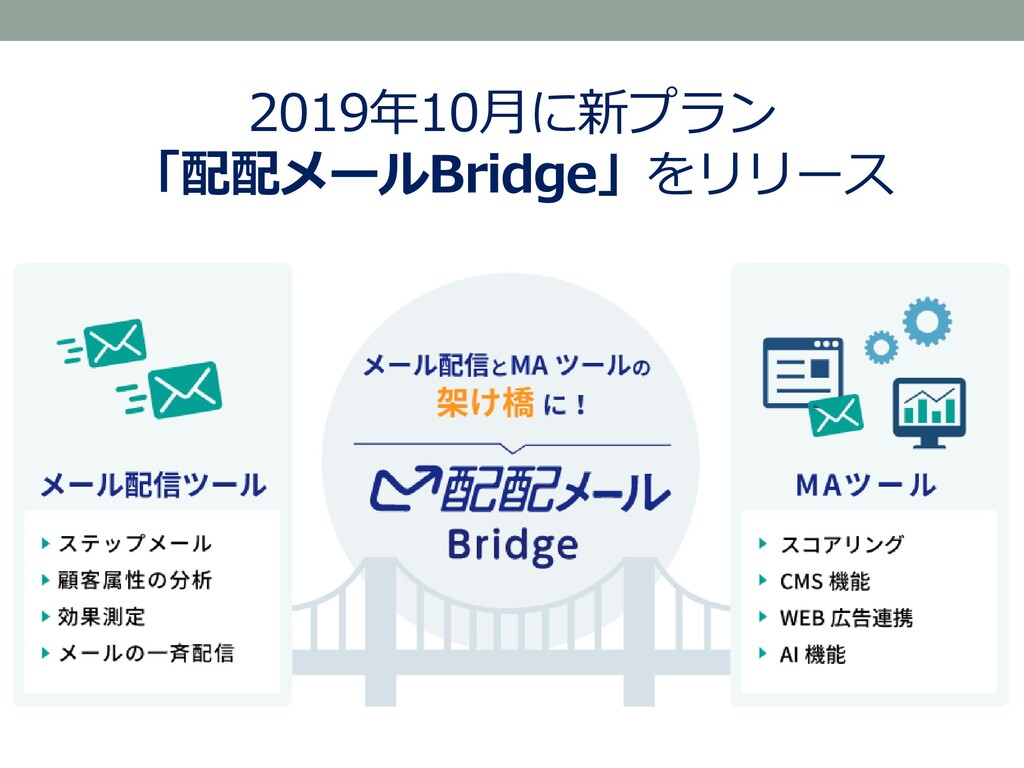 2019年10月に新プラン 「配配メールBridge」をリリース