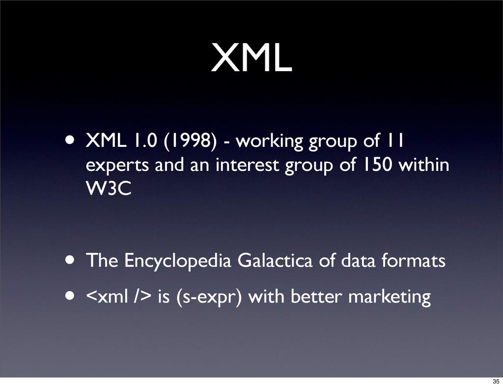 XML • XML 1.0 (1998) - working group of 11 expe...