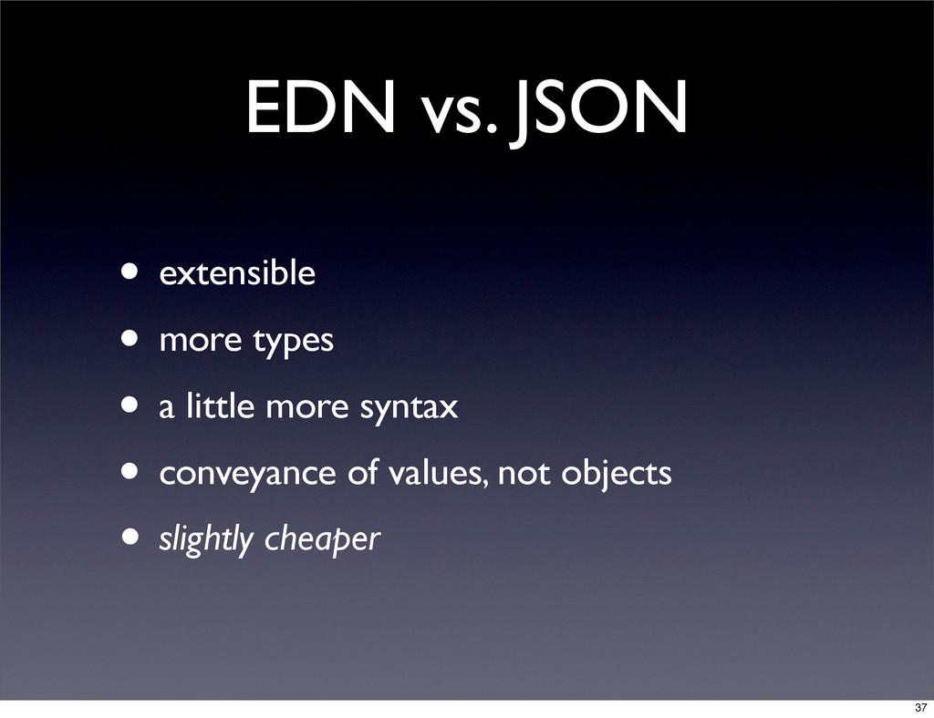 EDN vs. JSON • extensible • more types • a litt...