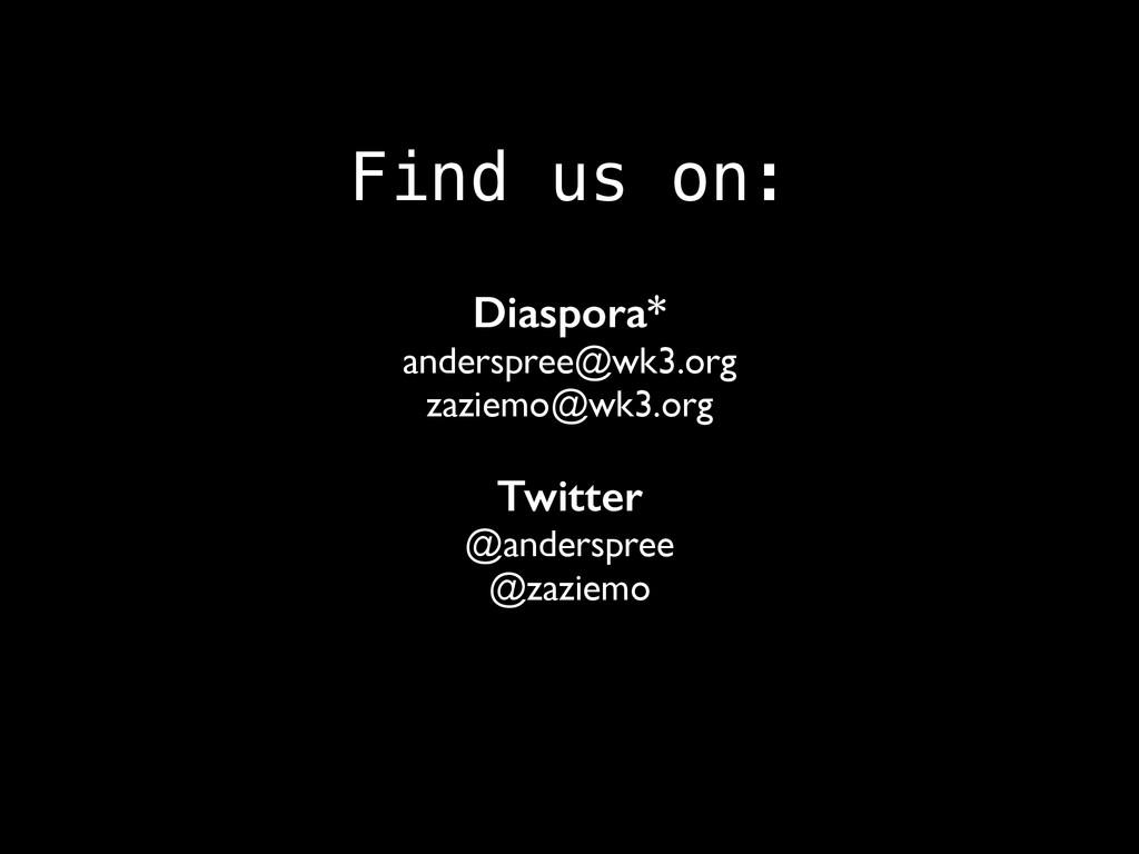 Find us on: Diaspora* anderspree@wk3.org zaziem...