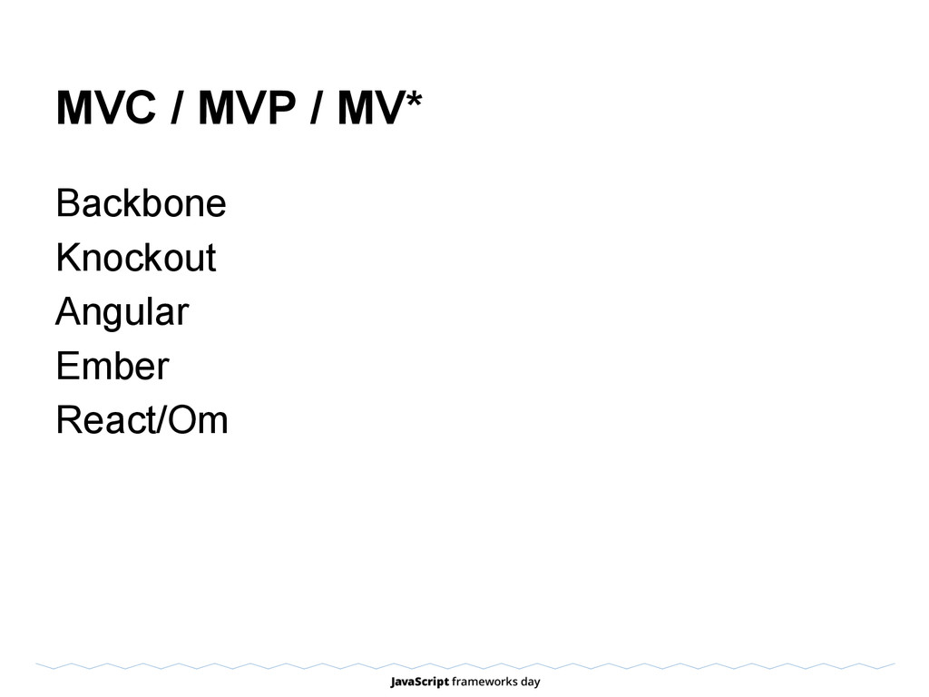 MVC / MVP / MV* Backbone Knockout Angular Ember...