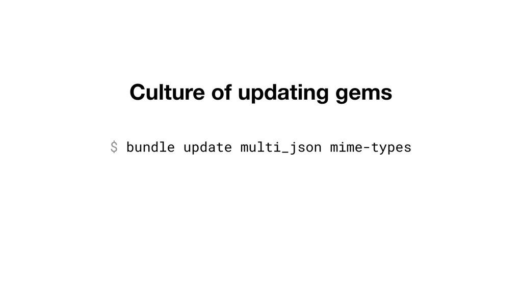 Culture of updating gems $ bundle update multi_...