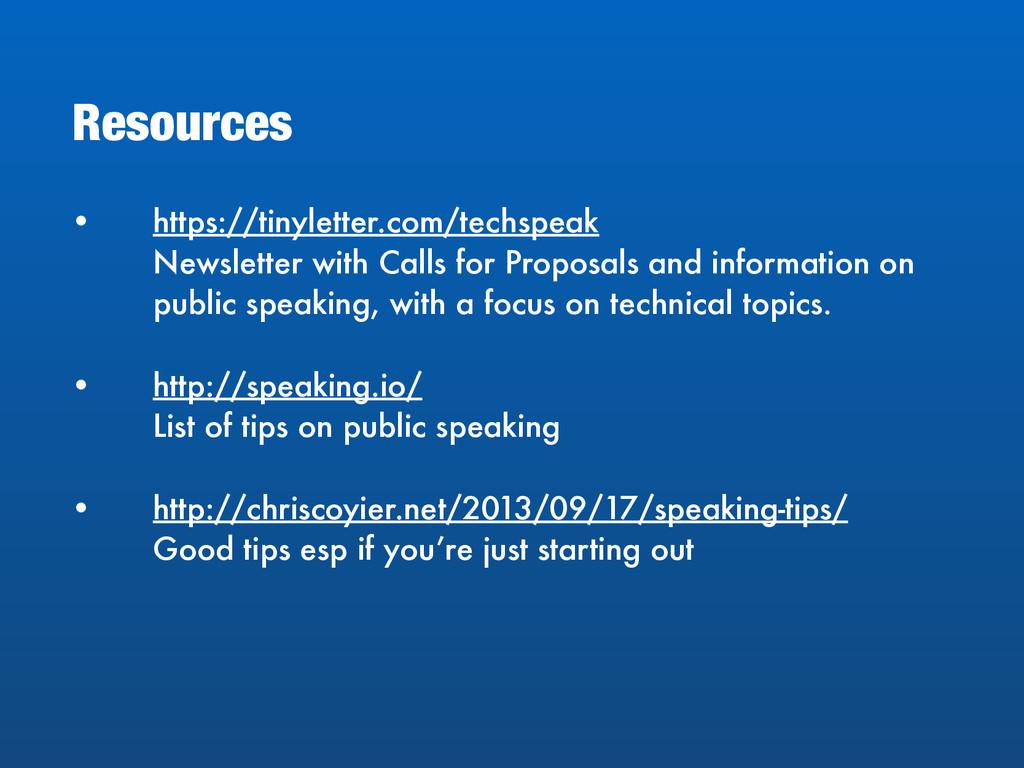 • https://tinyletter.com/techspeak Newsletter ...
