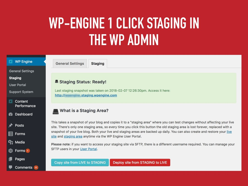 WP-ENGINE 1 CLICK STAGING IN THE WP ADMIN