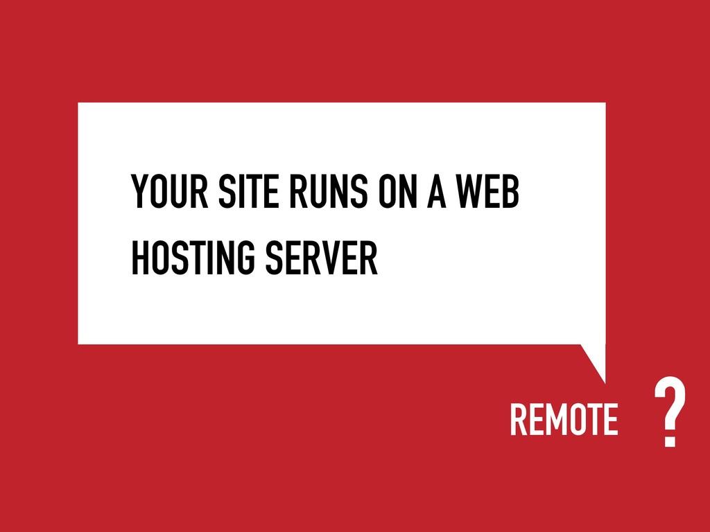 REMOTE YOUR SITE RUNS ON A WEB HOSTING SERVER ?