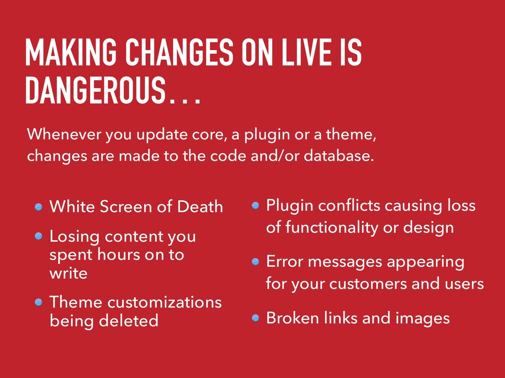 MAKING CHANGES ON LIVE IS DANGEROUS… White Scre...