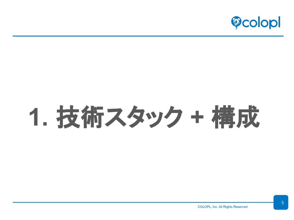 COLOPL, Inc. All Rights Reserved 1. 技...