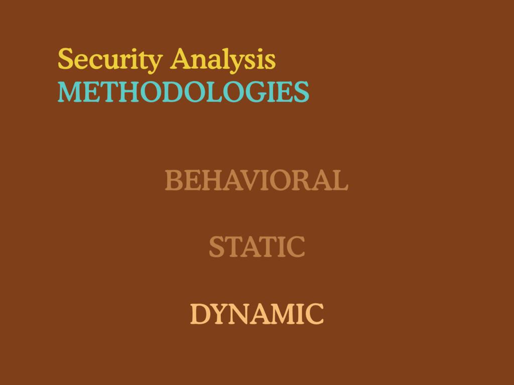 Security Analysis METHODOLOGIES BEHAVIORAL STAT...