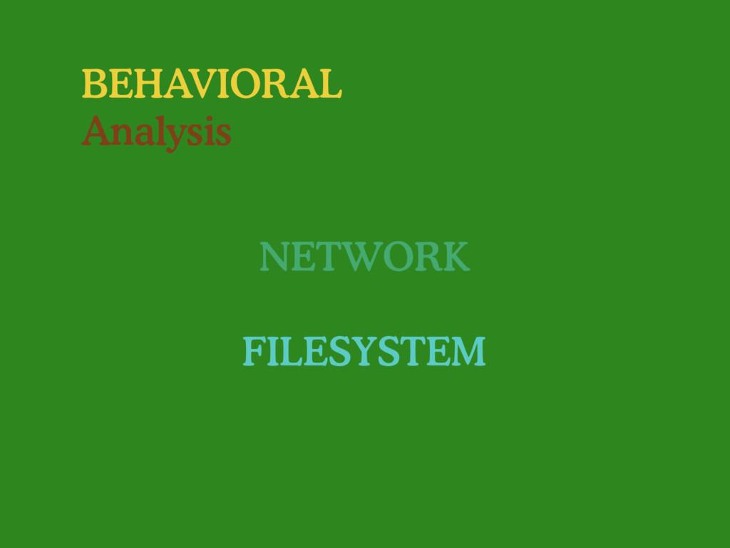 BEHAVIORAL Analysis NETWORK FILESYSTEM