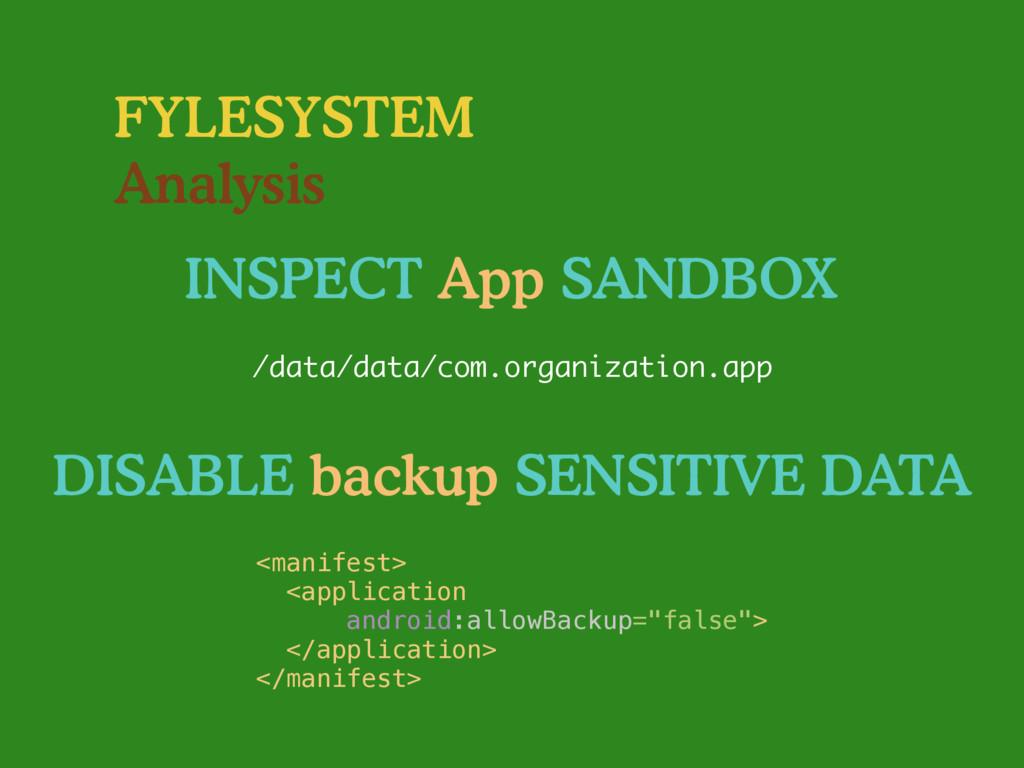 FYLESYSTEM Analysis INSPECT App SANDBOX /data/d...