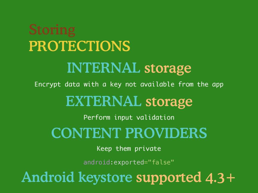 Storing PROTECTIONS INTERNAL storage Encrypt da...