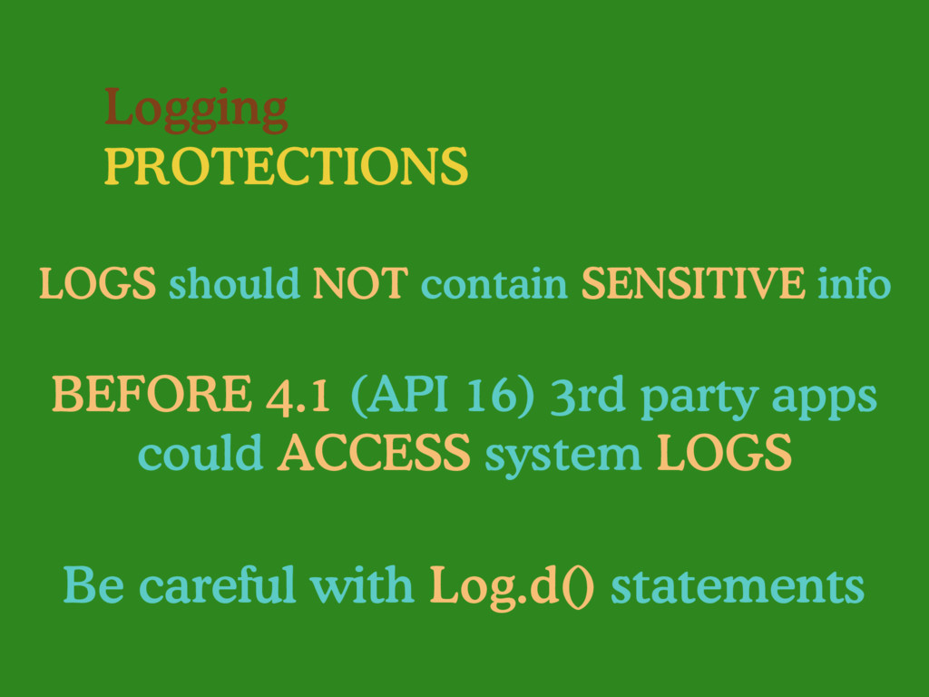 Logging PROTECTIONS LOGS should NOT contain SEN...