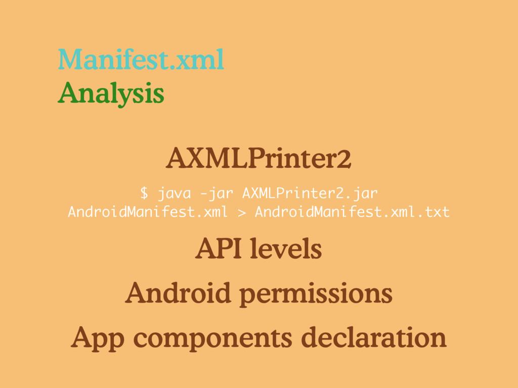 Manifest.xml Analysis API levels Android permis...