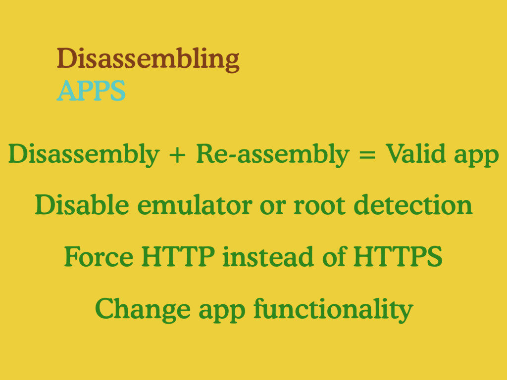 Disassembling APPS Disassembly + Re-assembly = ...