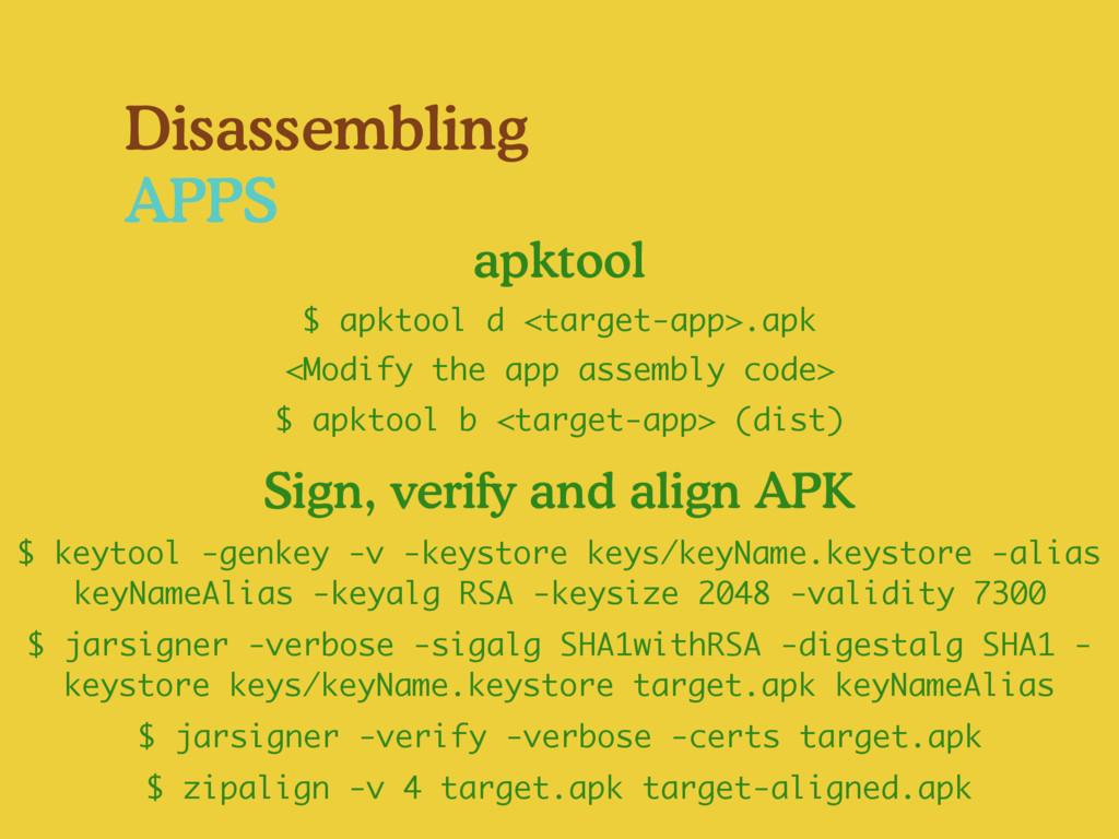 $ apktool b <target-app> (dist) <Modify the app...