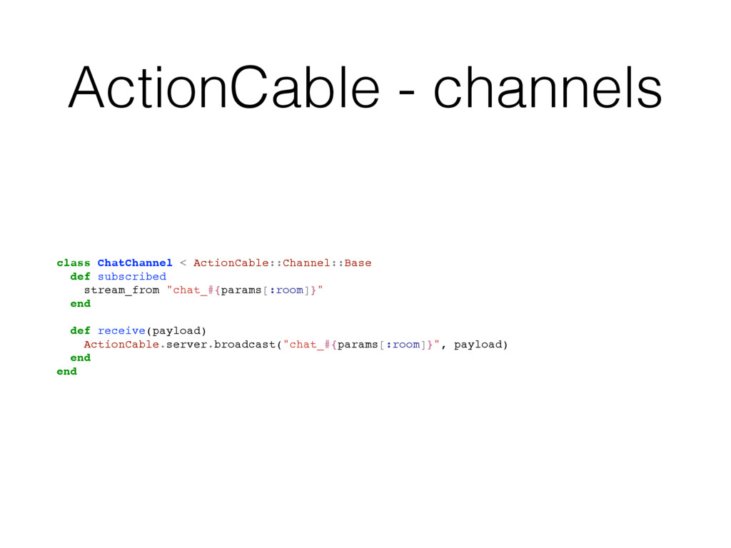 ActionCable - channels class ChatChannel < Acti...