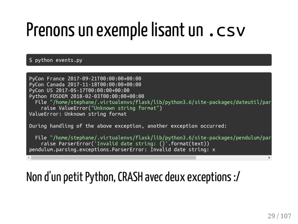 Prenons un exemple lisant un .csv $ python even...