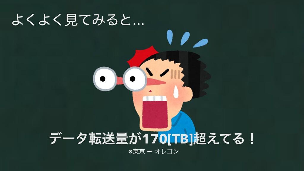 Α͘Α͘ݟͯΈΔͱ σʔλసૹྔ͕170[TB]͑ͯΔʂ ※౦ژ → ΦϨΰϯ