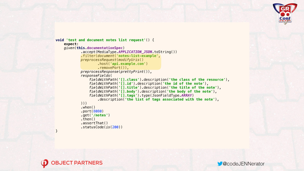 @codeJENNerator void 'test and document notes l...