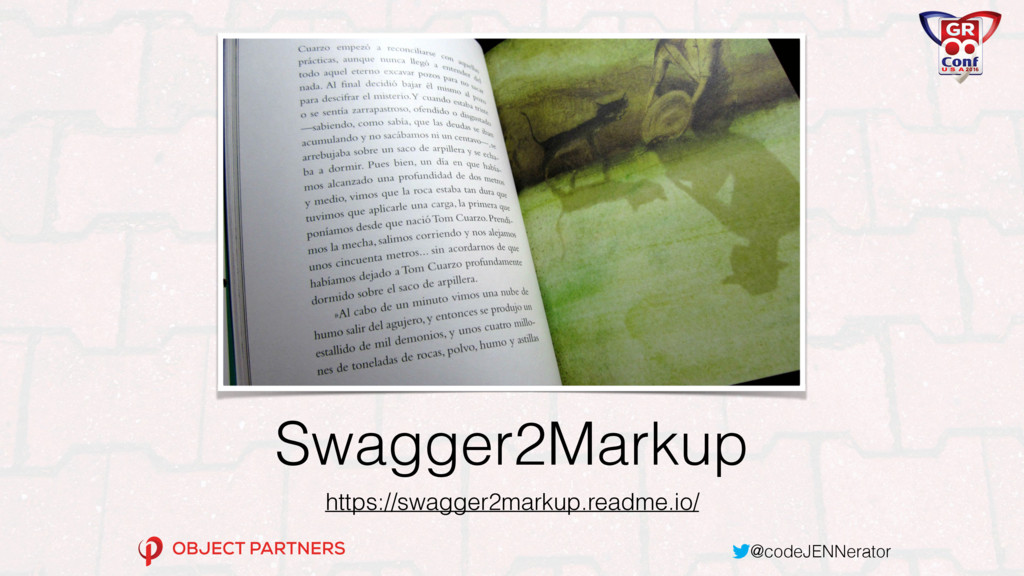 @codeJENNerator Swagger2Markup https://swagger2...
