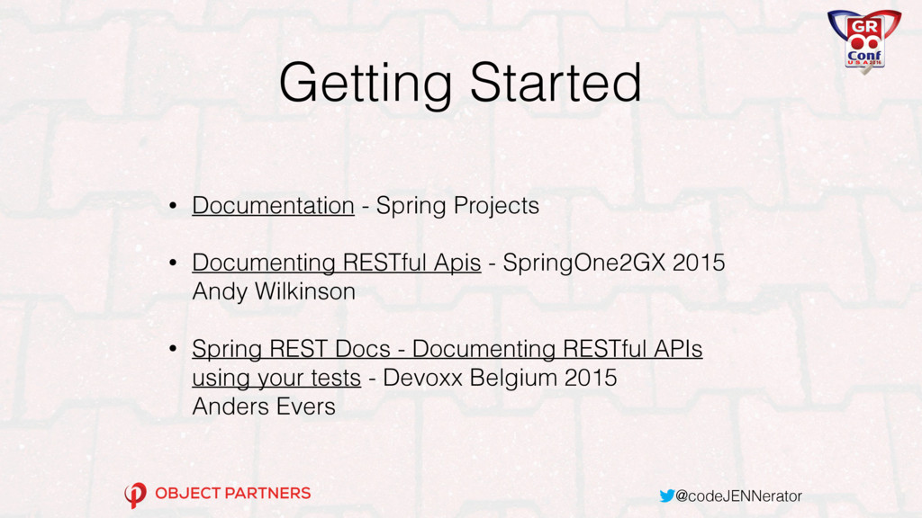 @codeJENNerator Getting Started • Documentation...
