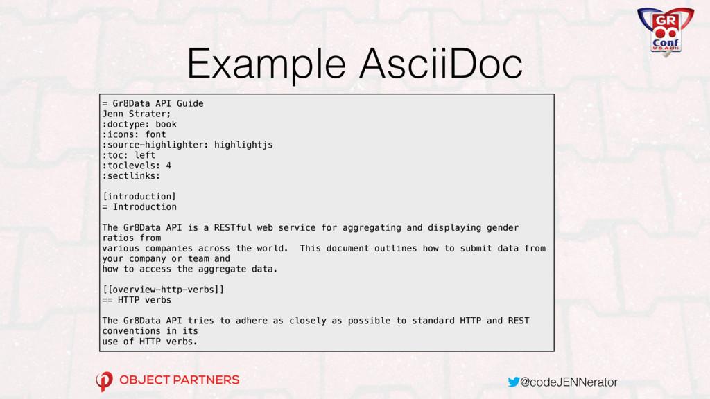 @codeJENNerator Example AsciiDoc = Gr8Data API ...