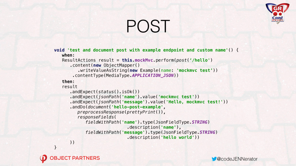 @codeJENNerator POST void 'test and document po...