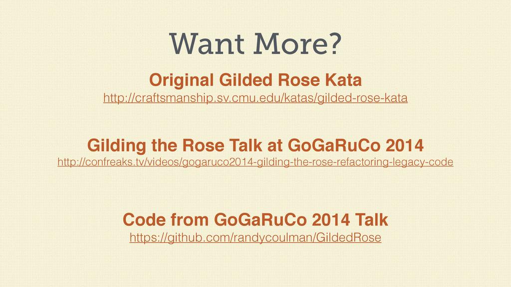 Want More? Original Gilded Rose Kata http://cra...