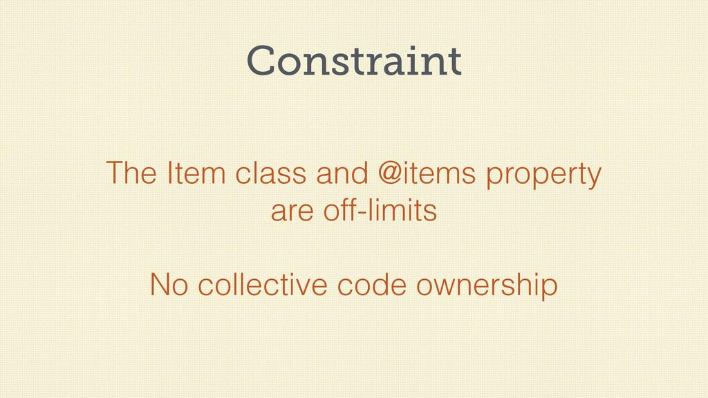 Constraint The Item class and @items property a...