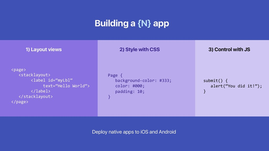 Building a {N} app <page> <stacklayout> <label ...