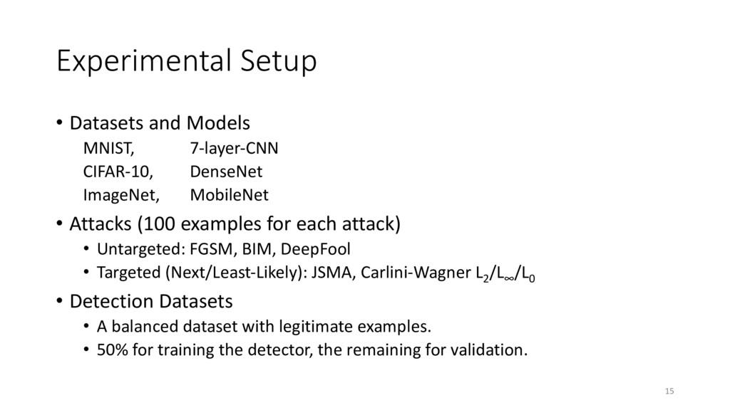 Experimental Setup • Datasets and Models MNIST,...