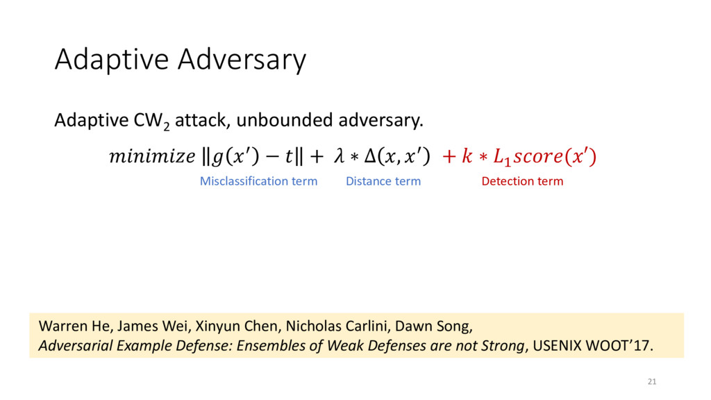 Adaptive Adversary Adaptive CW2 attack, unbound...