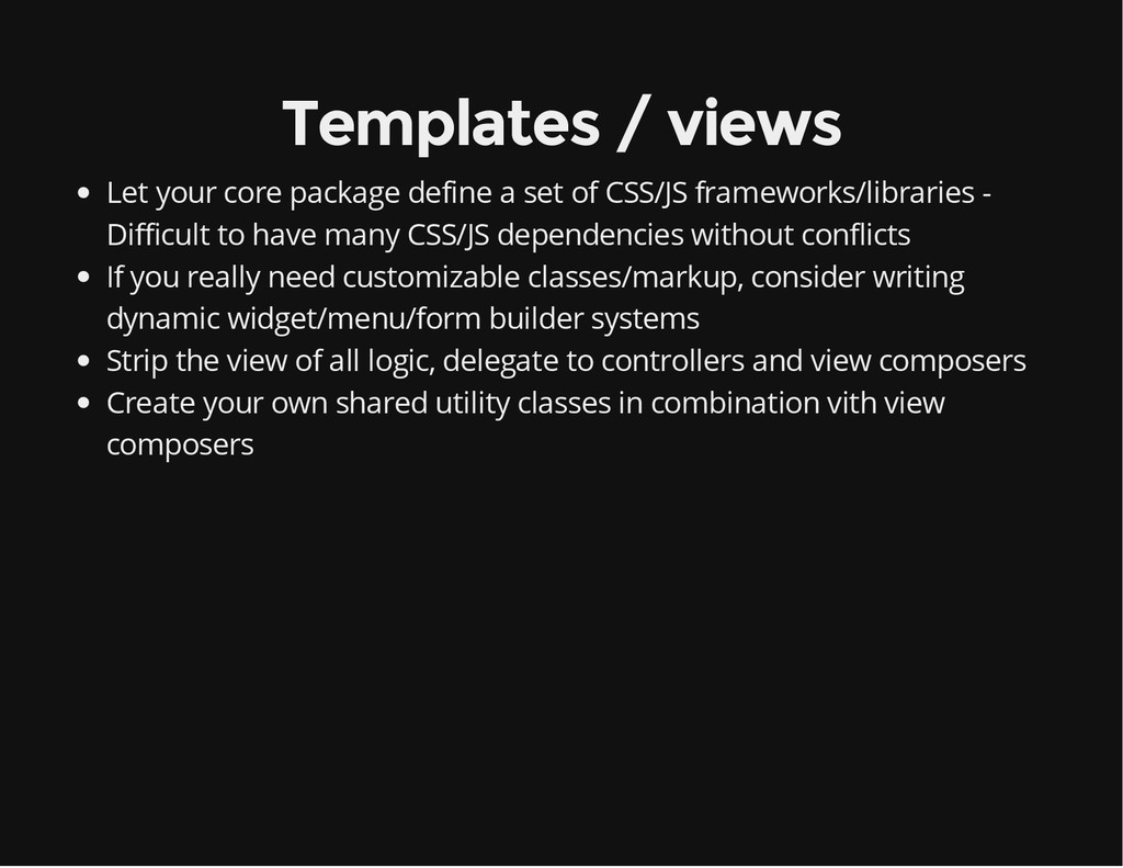 Templates / views Let your core package define ...