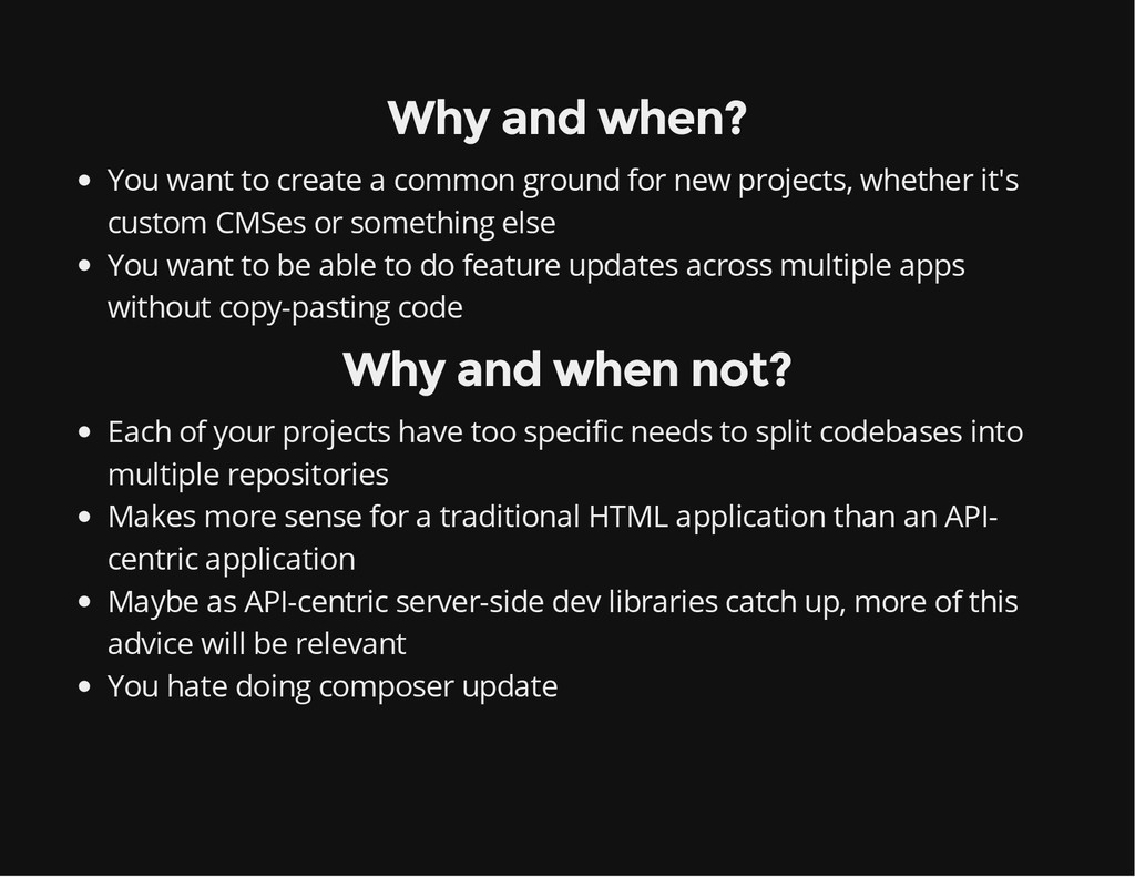 Why and when? You want to create a common groun...
